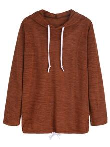 Brown Drawstring Hem Hooded Sweatshirt
