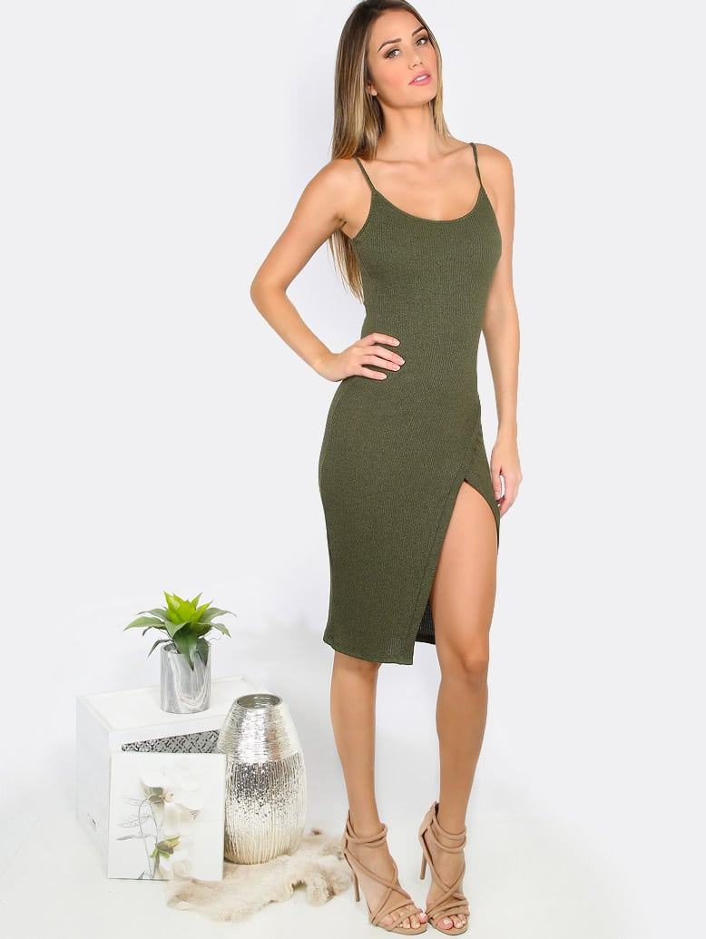 Overlap Ribbed Cami Dress mmcdress-d7733nia11-olive