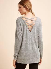 T-Shirt Incrociato Indietro Con Spacco - Grigio