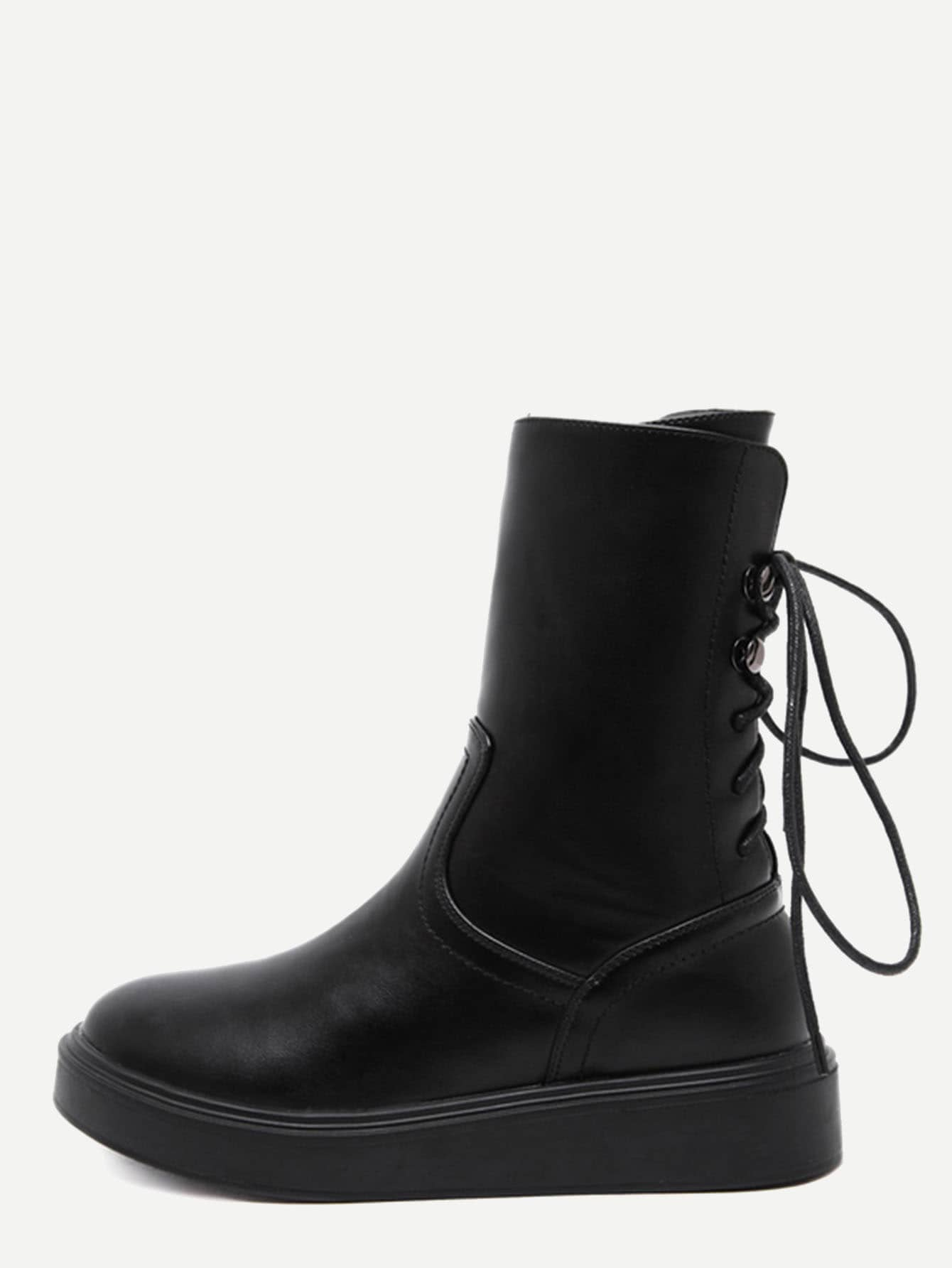 Фото Black Faux Leather Tie Back Side Zipper Short Boots. Купить с доставкой