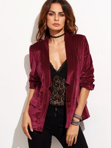 One Button Notched Collarless Velvet Blazer