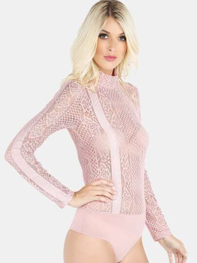 Sheer Lace Bodysuit PINK