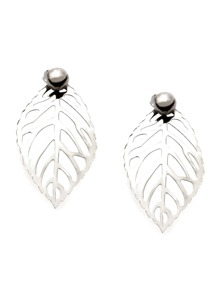 Silver Plated Hollow Leaf Stud Earrings