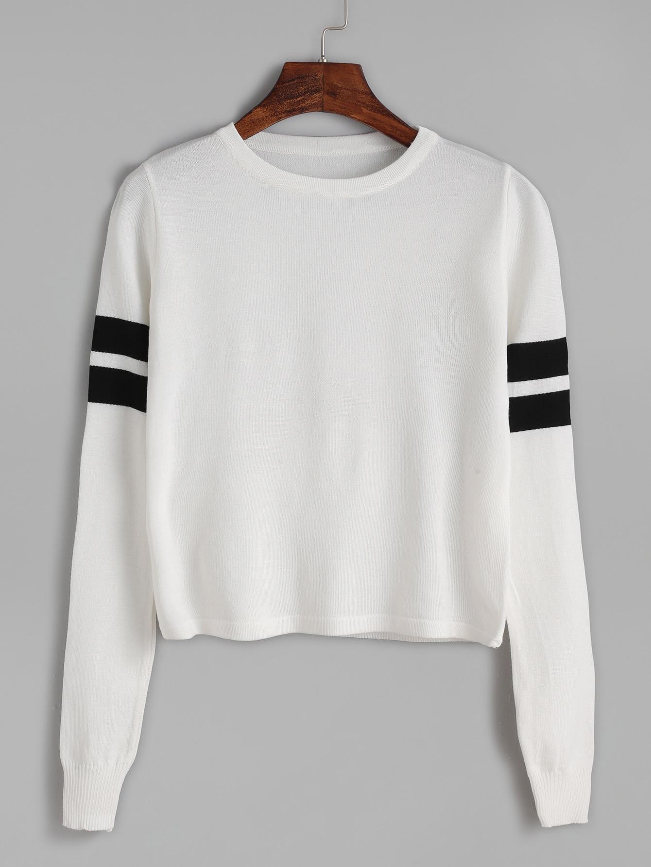 White Striped Trim Long Sleeve Knitwear sweater161004301