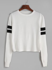 White Striped Trim Long Sleeve Knitwear