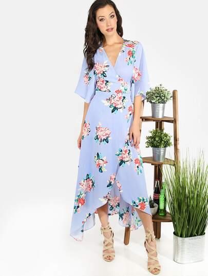 Vestido floral escote V asimétrico -multicolor