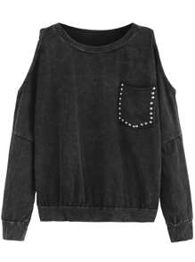 Black Open Shoulder Pocket Sweatshirt
