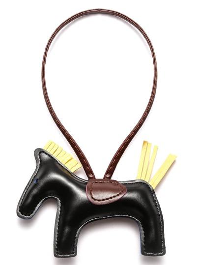 Llavero de cuero sintético en forma de caballo - negro