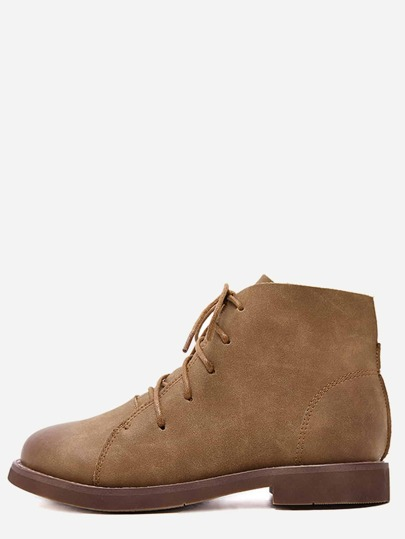 Brown Distressed PU Lace Up Oxford Boots
