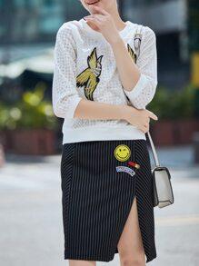 White Birds Applique Pouf Top With Split Striped Skirt