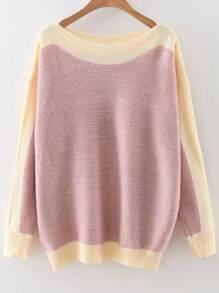 Pink Color Block Boat Neck Drop Shoulder Knitwear