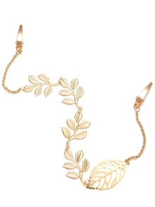 Gold Plated Leaf Chain Hair Accessory