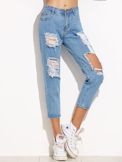Blue Ripped Skinny Ankle Jeans -SheIn(Sheinside)