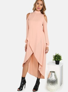 Mock Neck Cold Shoulder Bishop Sleeve Dress ALMOND