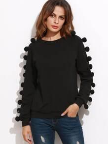 Raglan Sleeve Sweatshirt With Pom Pom
