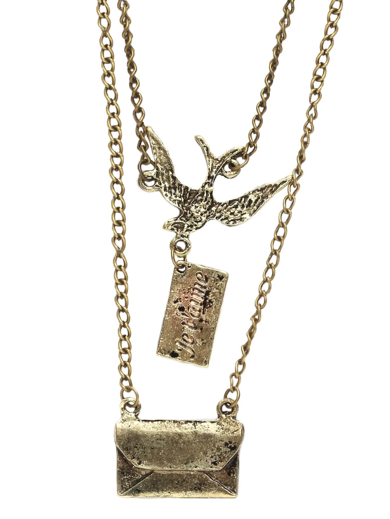 Фото Double Chain Bird Envelope Pendants Necklace. Купить с доставкой