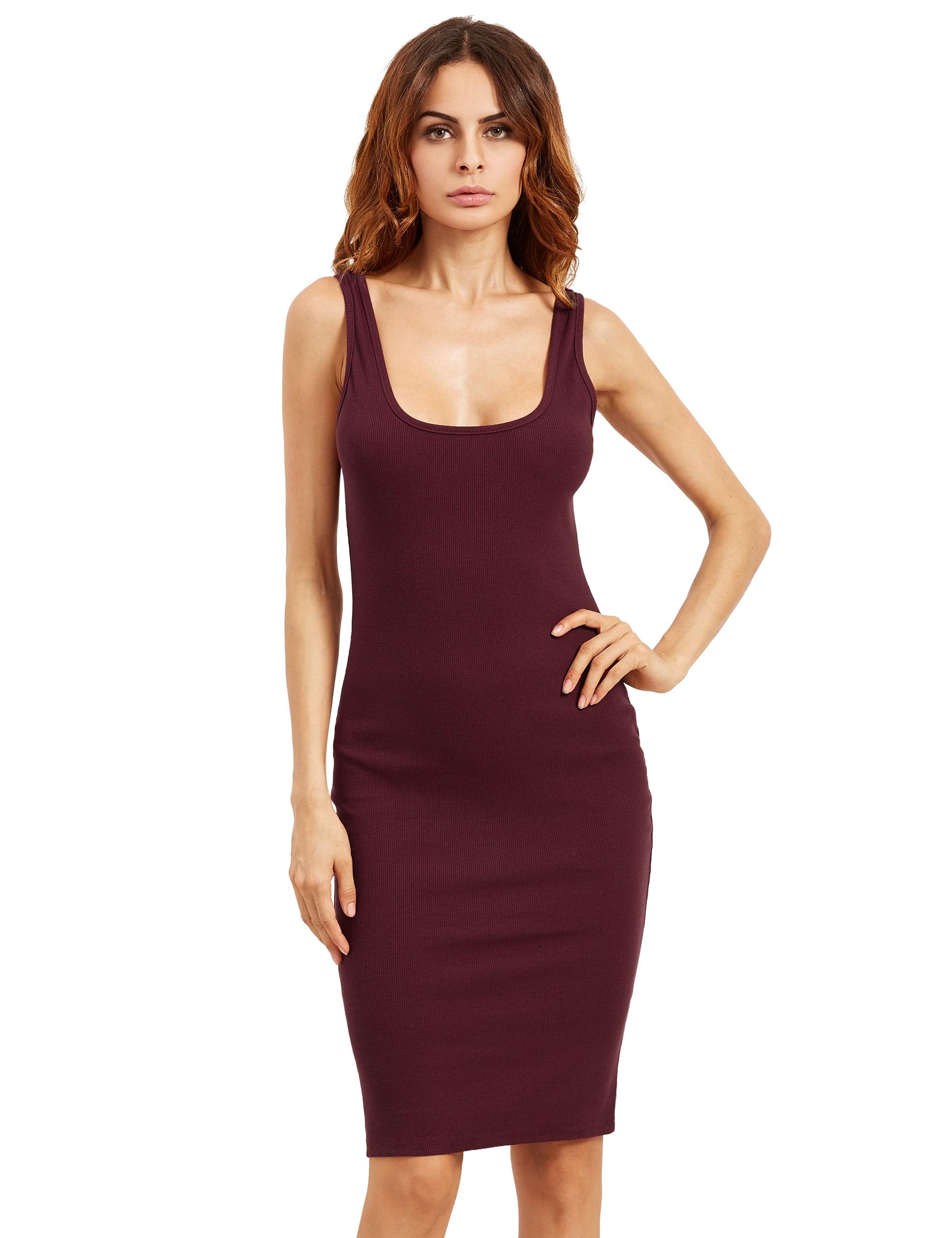 Burgundy Sleeveless U Neck Bodycon Dress dress160808757