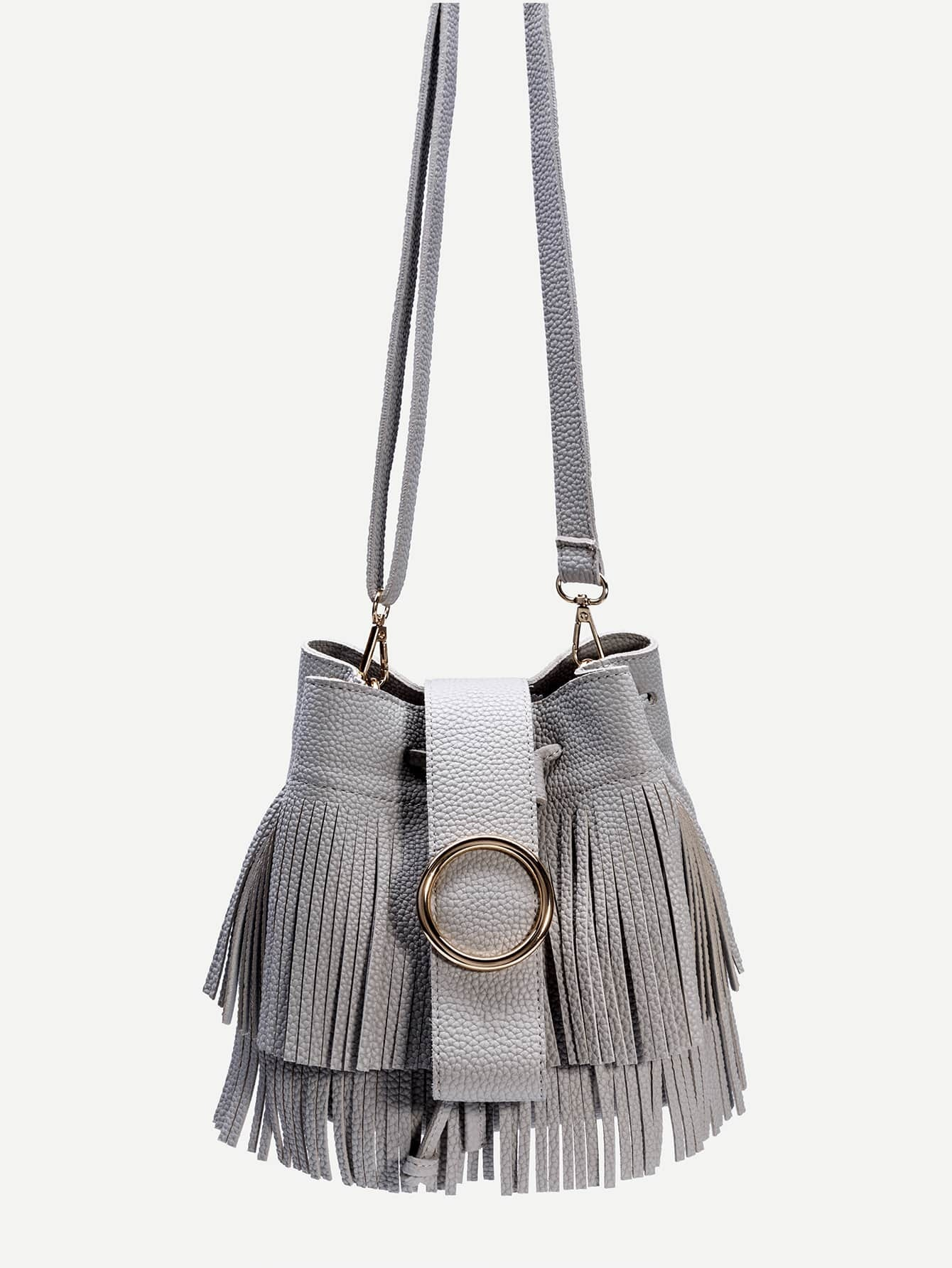 Grey PU Fringe Trim Drawstring Bucket Bag