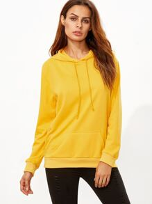 Yellow Pocket Drawstring Hooded Sweatshirt