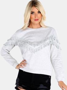 Embellished Tassel Pullover STONE