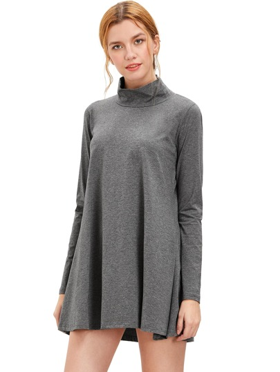 Grey Pullover Long Sleeve Casual Dress