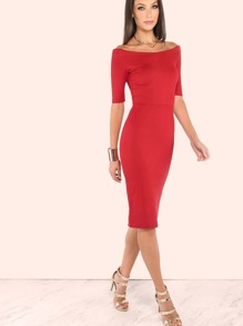 Quarter Sleeve Off the Shoulder Dress DEEP RED