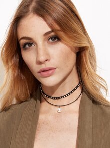 Black Faux Leather Studded Choker Double Layered Pearl Necklace