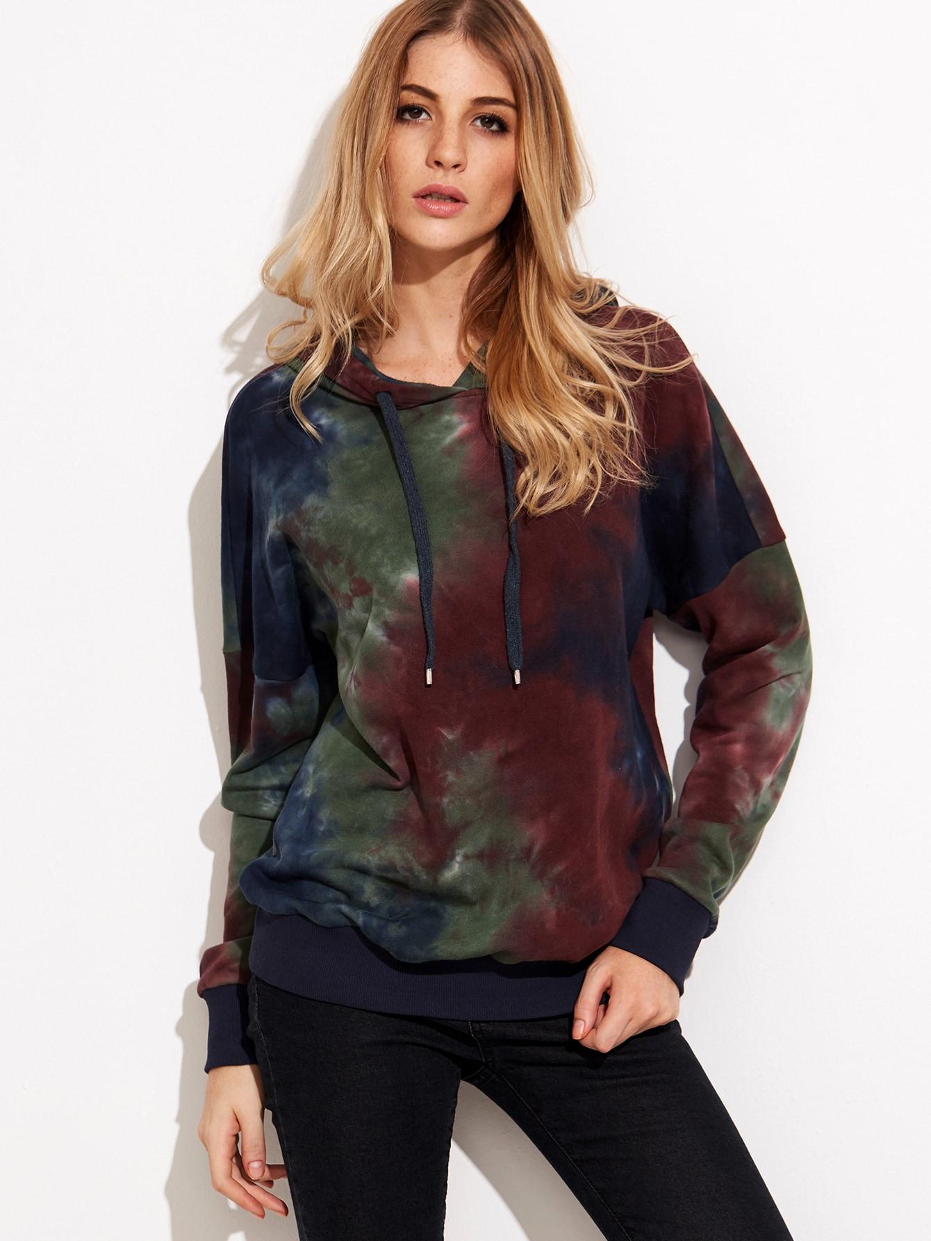 Multicolor Tie Dye Print Drop Shoulder Hoodie tie dye drop shoulder crop hoodie