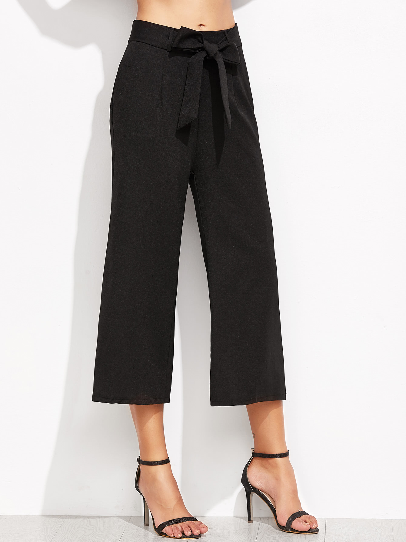 Cropped Self Tie Wide Leg Pants bow tie side wide leg pants