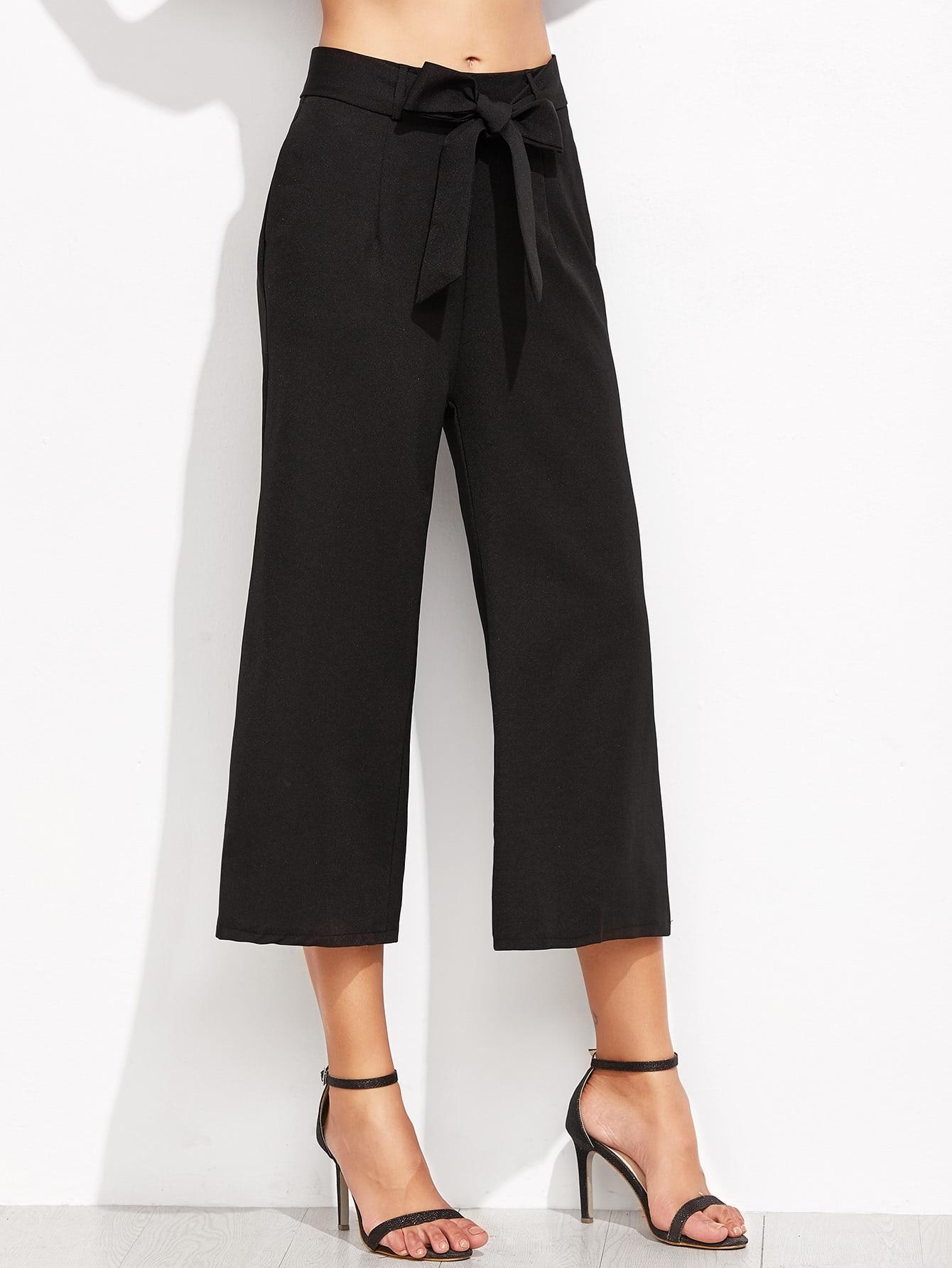 Image of Cropped Self Tie Wide Leg Pants