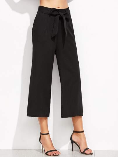 Pantalones de pernera ancha con cordón - negro