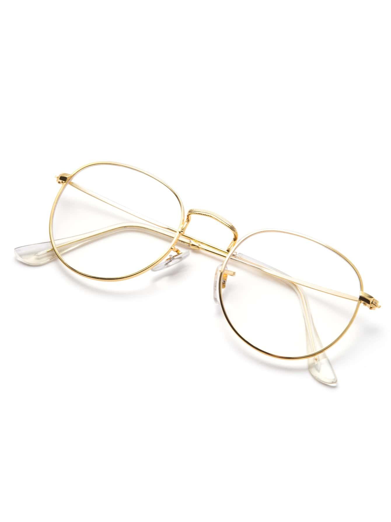 Glasses Frame Clear : Gold Frame Clear Lens Glasses -SheIn(Sheinside)