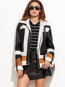 Color block PU Leather Faux Shearling Zipper Jacket