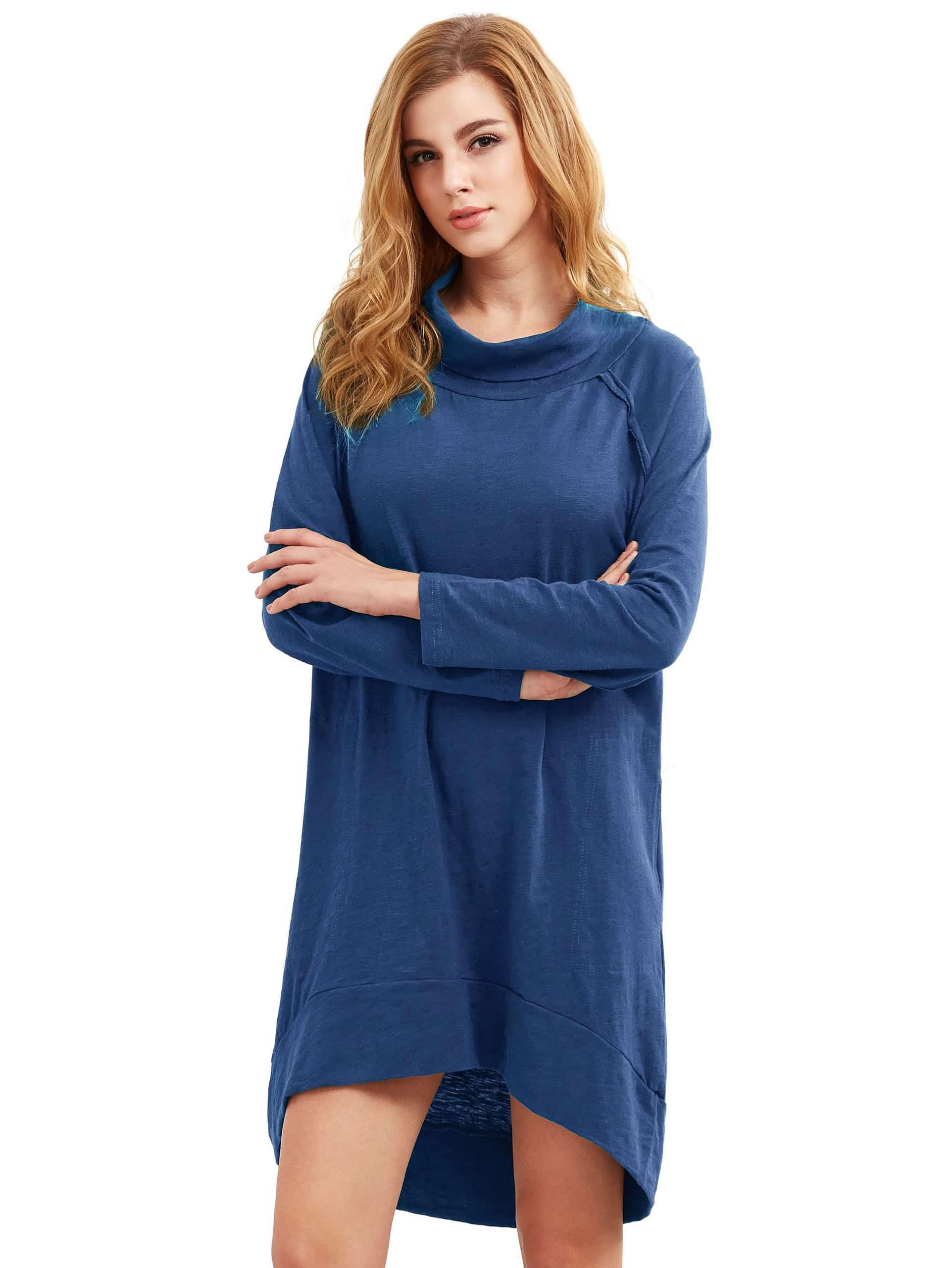 Фото Royal Blue Cowl Neck Dip Hem Dress. Купить с доставкой