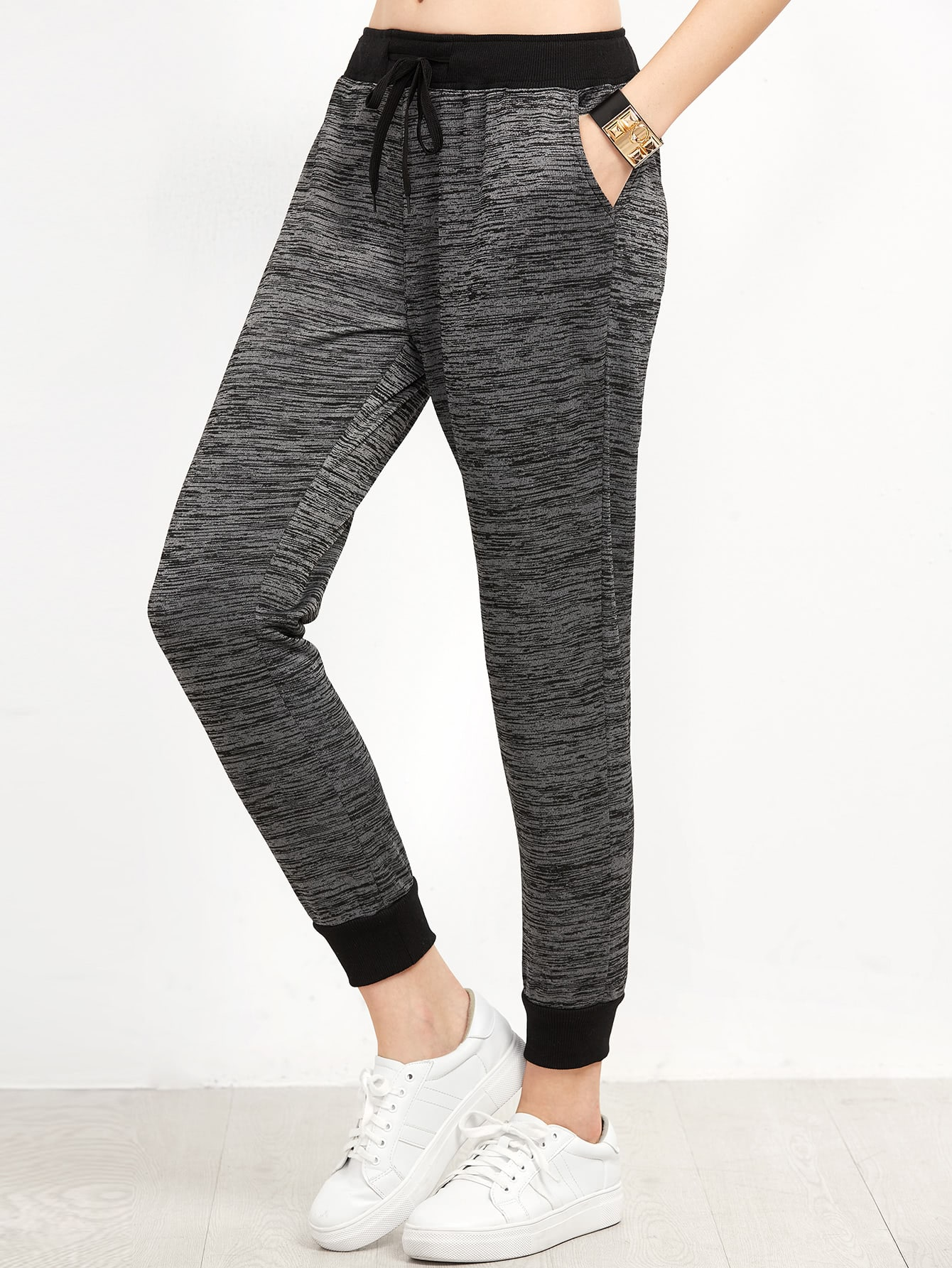 Contrast Trim Space Dye Pants цены онлайн
