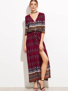 Tribal Print V-neckline Button Front Dress