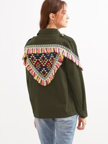 Olive Green Jacket With Embroidered Patch And Tassel Detail