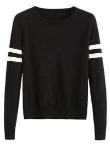 Pull en jersey motif rayures - noir