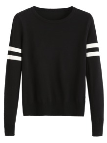 Black Striped Trim Jersey Sweater