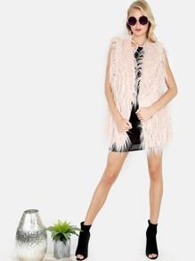 Faux Fur Longline Vest BLUSH