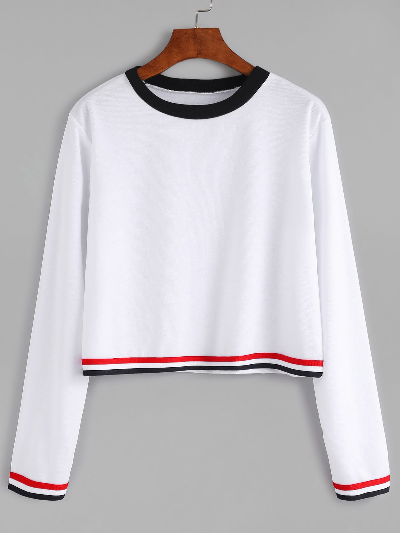 White contrast striped long sleeve t shirt shein sheinside Striped long sleeve t shirt