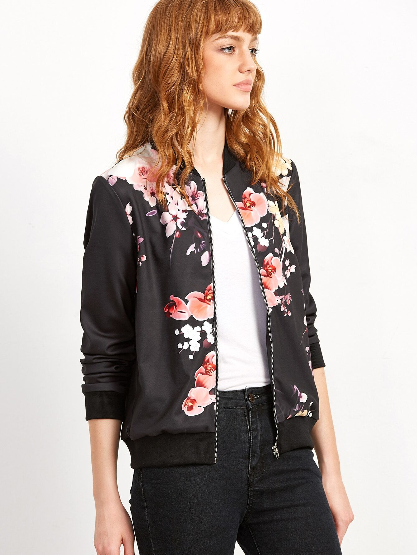 Black Flower Print Ribbed Trim Bomber Jacket -SheIn(Sheinside)