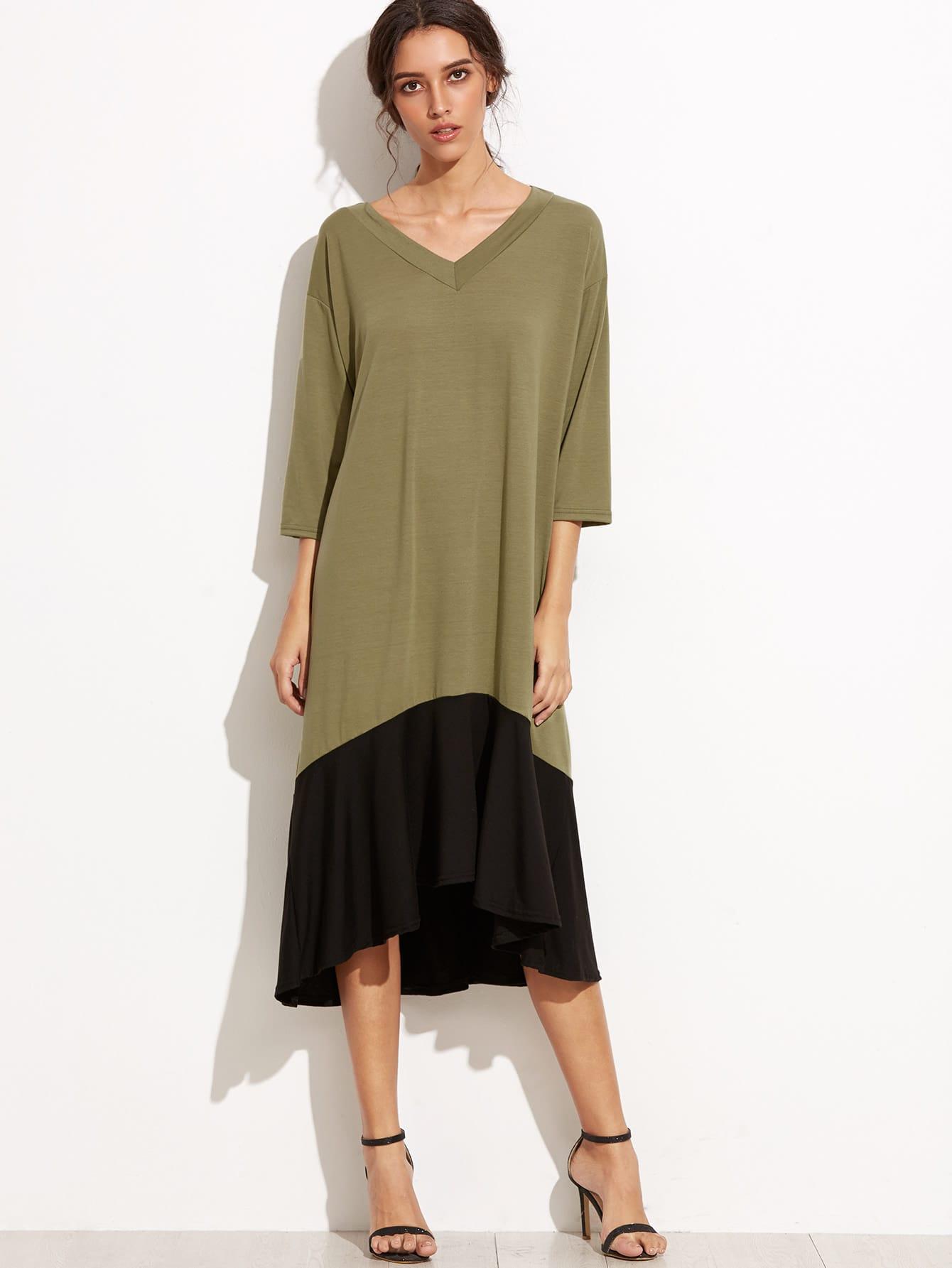 Color Block V Neck High Low Shift Dress