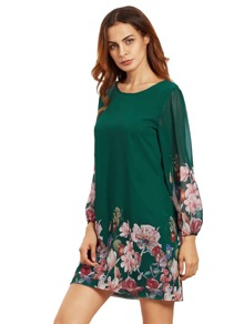 Green Lantern Sleeve Floral Shift Dress