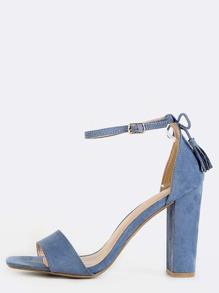 Tassel Bow Tie Suede Chunky Heels BLUE