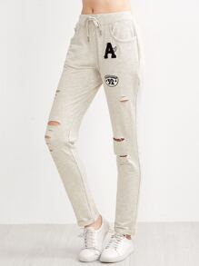 Heather Grey Ripped Drawstring Jersey Pants With Patch