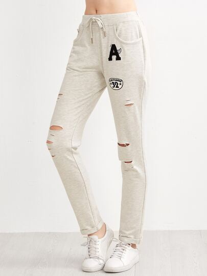 Ripped Jersey Pants With Patches