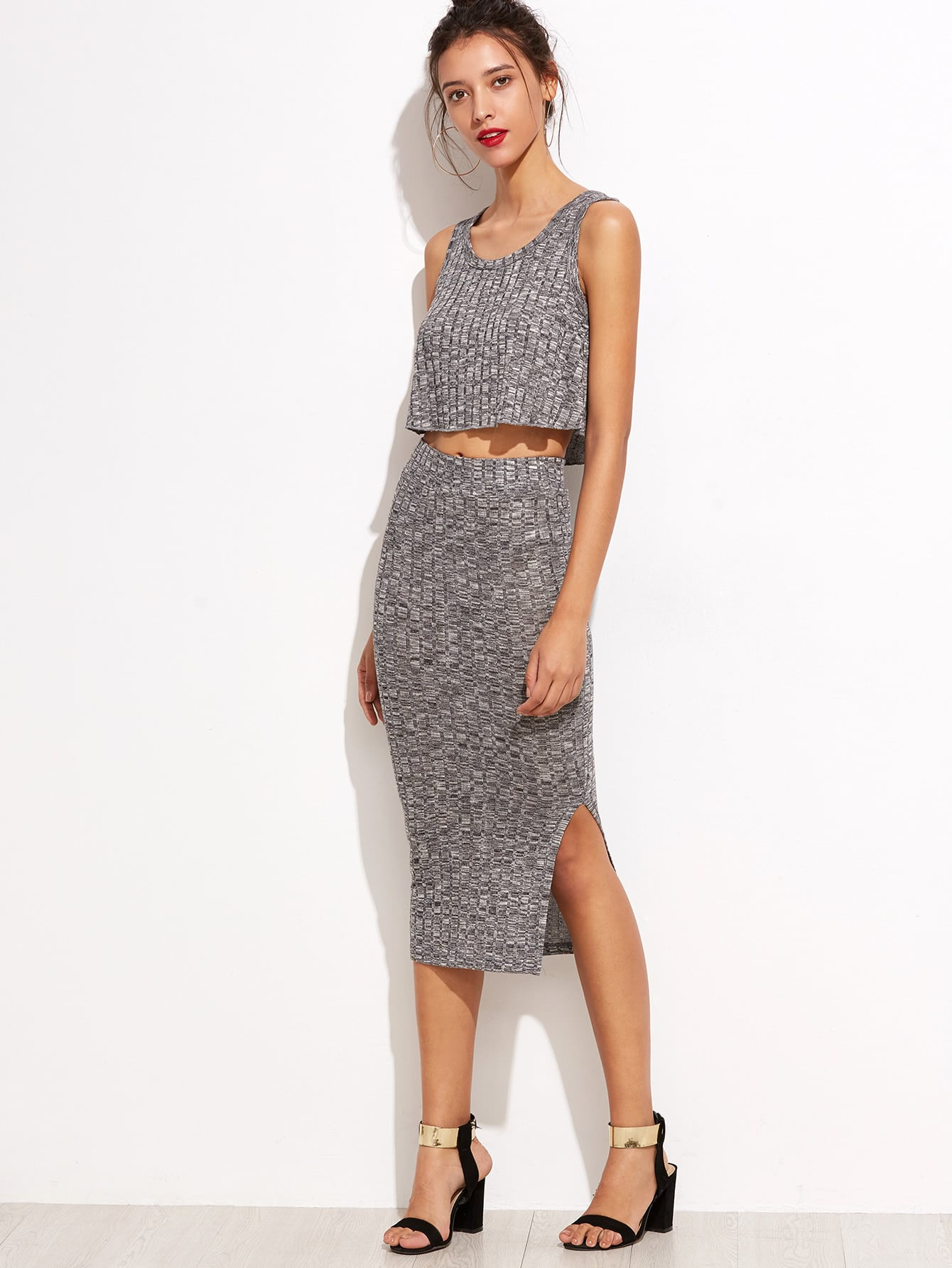 Marled Knit Crop Top With Split Skirt raglan sleeve binding marled crop top
