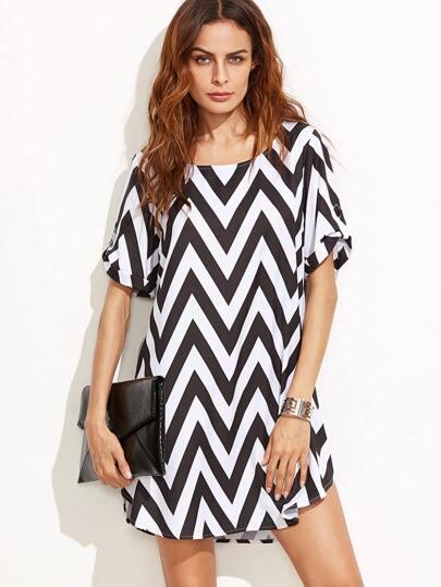 Black And White Chevron Print Shift Dress