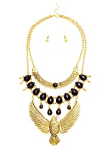 Antique Gold Layered Eagle Statement Necklace Earrings Set